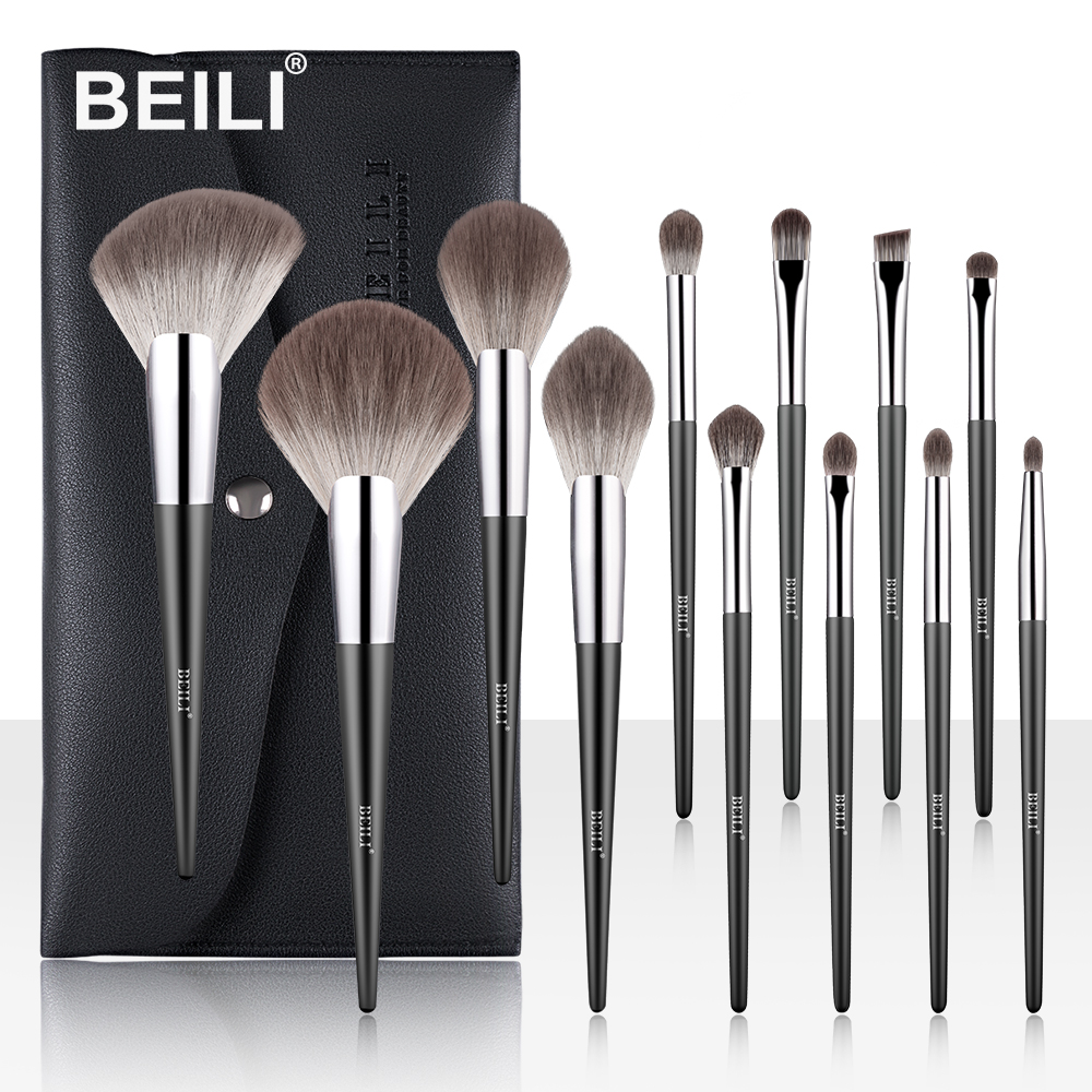BEILI Professional Makeup Brushes Set Fan Powder Foundation Blush Soft Nano Fiber Hair Eyebrow 12 Pcs Cosmetic Brush For Makeup
