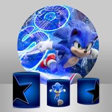 Виде незаполненного круга фон плинтус крышка для фотосъемки с изображением Sonic зубная щётка тема Мальчики День рождения фон студии баннер