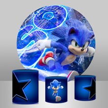 Circle Round Background Plinth Cover Backdrops Sonic theme Boys Birthday Party Backdrop Studio Banner
