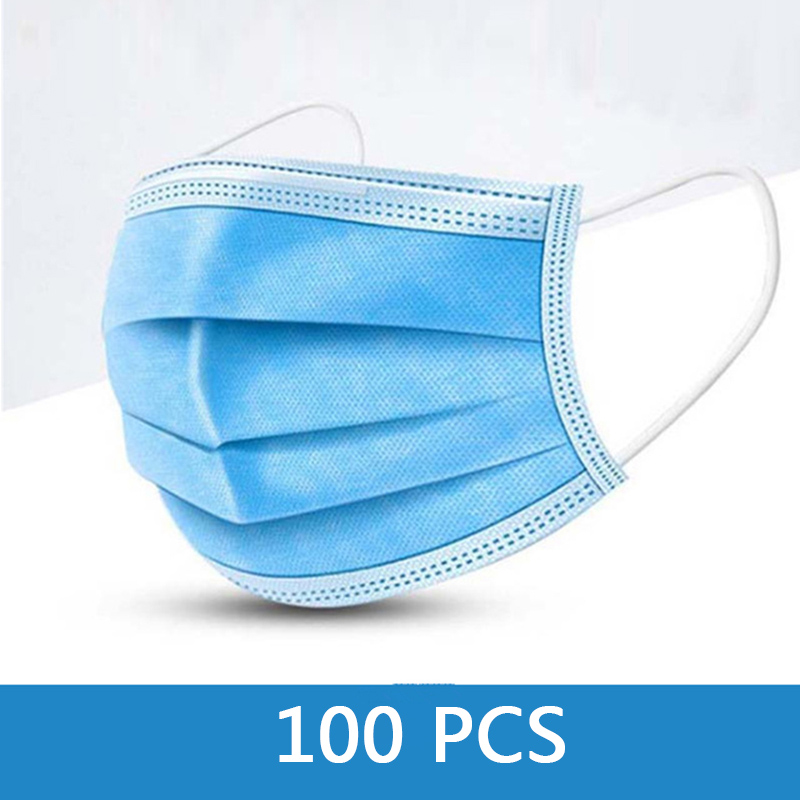 100 Pcs 3 Layer Disposable Face Masks Non-woven Thickened One Time Mouth Mask Breathable Mouth Cover Fast Deliver