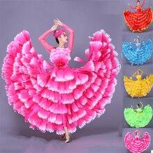 Женское лепестковое испанское платье танцевальный костюм для фламенко корриды Фламенго платье цыганское фламенко 360/540 градусов представление S-3XL