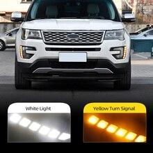 Car Flashing  For Ford Explorer 2016 2017 2018 LED DRL Daytime Running Light Daylight yellow turn Signal lamp car Styling light