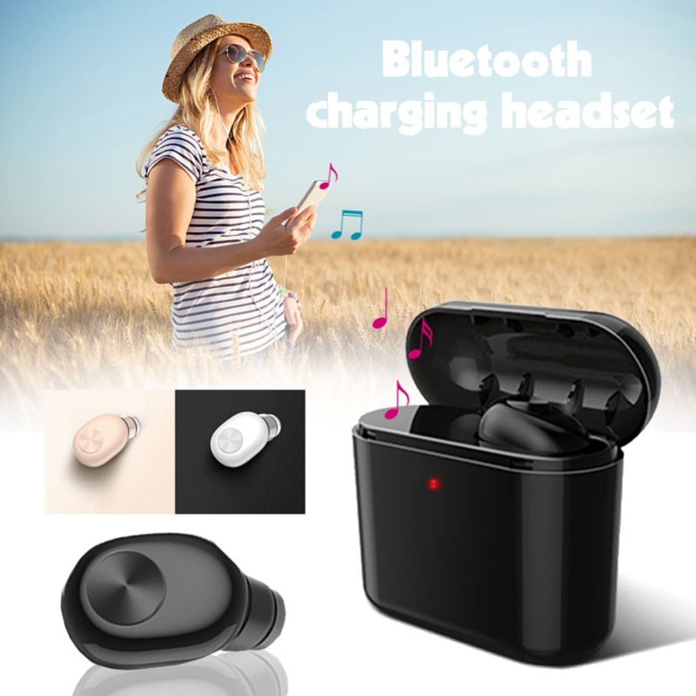 Mini Wireless Bluetooth Headset in Ear Earphone Portable Charging Box for iPhone Xiaomi Samsung Android phone PC TV Sport car
