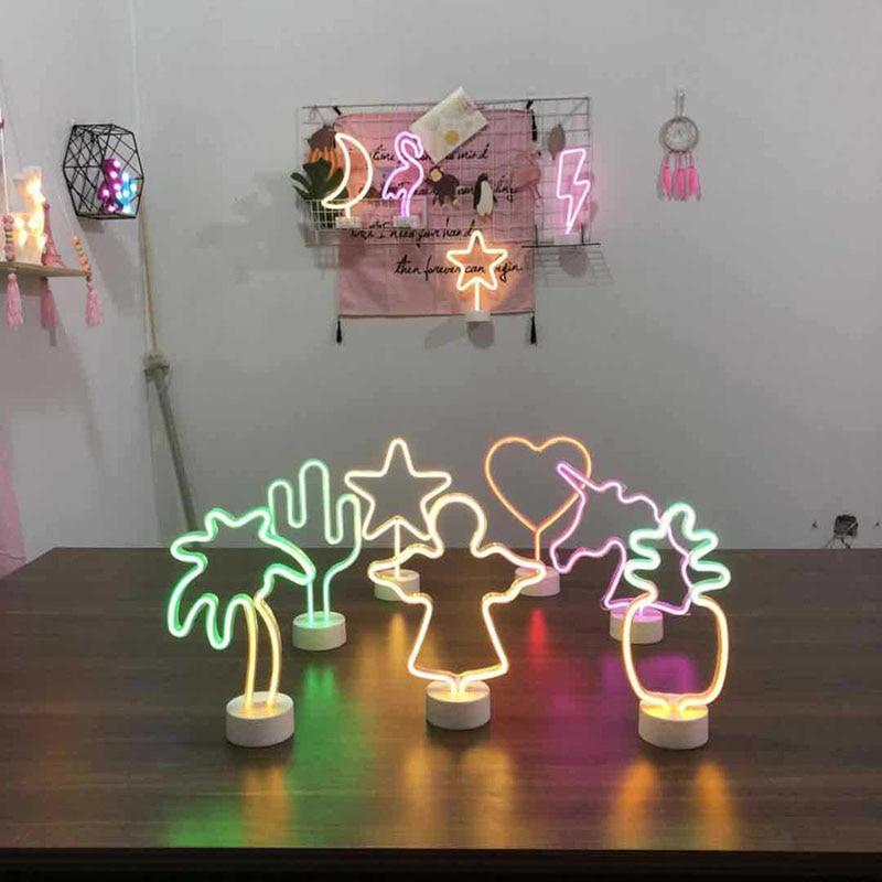 СВЕТОДИОДНЫЙ Неон ночь светильник ананас кактус Форма с базой Батарея питание настольная лампа для детской комнаты для отдыха - 5