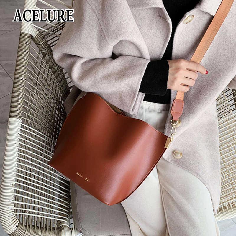 ACELURE פשוט סגנון נשים כתף Crossbody שקיות רך עור מפוצל גדול גבוהה-וו קיבולת דלי שקיות מקרית אופנה לשאת שקיות