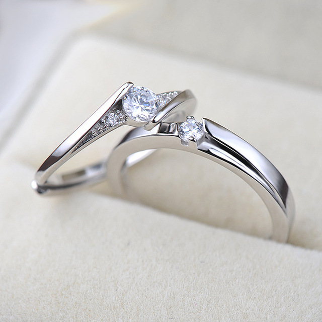 UFOORO S925 Sterling Silver Clear Round Zirrcon Ring Valentine's Day Gift Couple Ring Set For Woman Wedding Engagement Jewelry 1