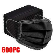 10-600 pces máscara descartável preto não-tecido 3-camada máscara facial filtro anti poeira respirável máscara protetora adulto máscaras navio rápido