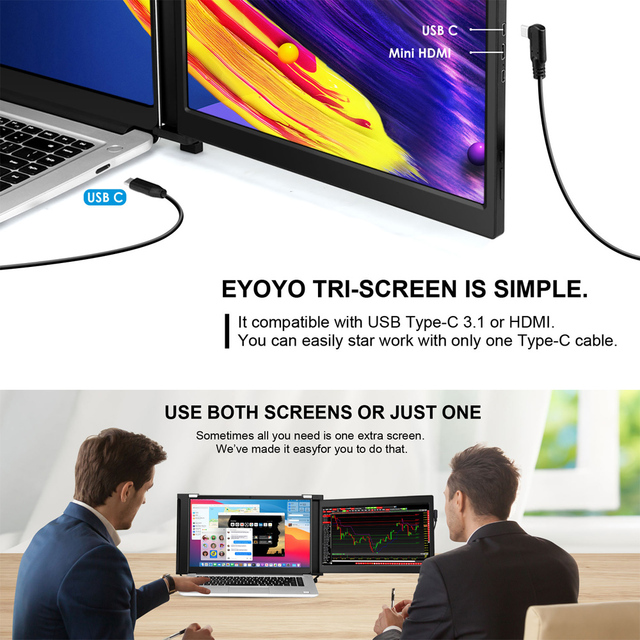 "Eyoyo Dual Portable Gaming Monitor IPS 1080P 13.3"" USB C HDMI Display FHD PS4 Screen for Laptop PC Phone Xbox Nintendo Switch