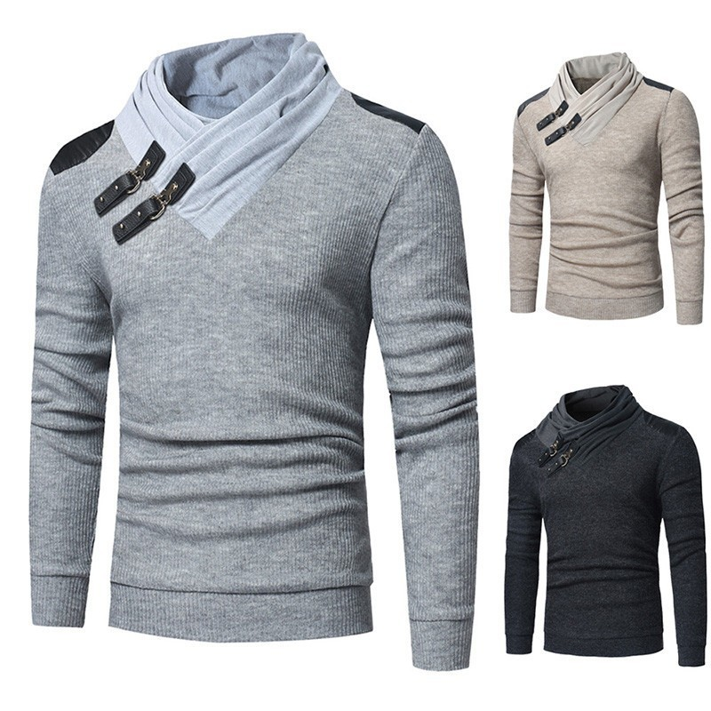 Sweater Men 2019 Autumn Winter Warm Brand Male Long Sleeve Skin Buckle Solid Color Hooded Mens Heaps Collar Knitted Sweater J638