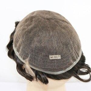 Image 4 - Peluca de cabello humano brasileño para hombre peluquín de aspecto Natural con encaje suizo completo, reemplazo de Peluca de cordón, Remy