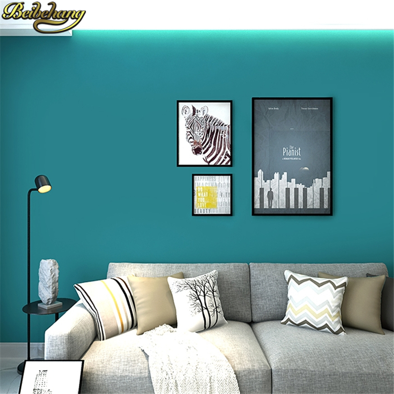 Beibehang Blue Green Solid Color Wallpaper Roll Pure Pigment Modern Wallpapers For Bedroom Living Room Background Wall Paper Wallpapers Aliexpress