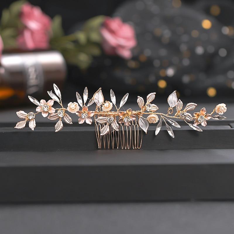 Crystal Rhinestone Hair Combs Flower Hair Clips for Wedding Women Jewelry Hair Accessories Bridal Comb Girls Headwear Head Stick