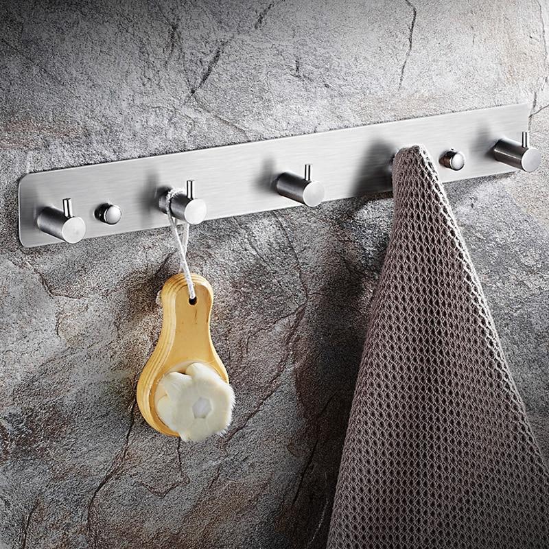 304 нержавеющая сталь ванная комната полотенце крючки мочалка вешалка ряд крючки утолщение твердый стена навесной матовый сталь