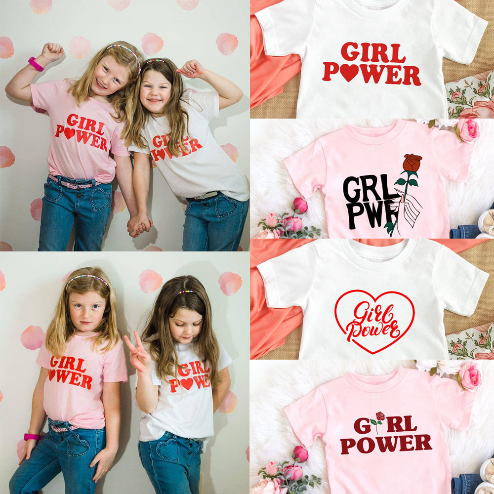 Girl Power Kids Tshirts Summer Short Sleeve Female T-shirts Girls Fashion Tee Shirt Toddler Baby Casual Tops Clothes 1-12T