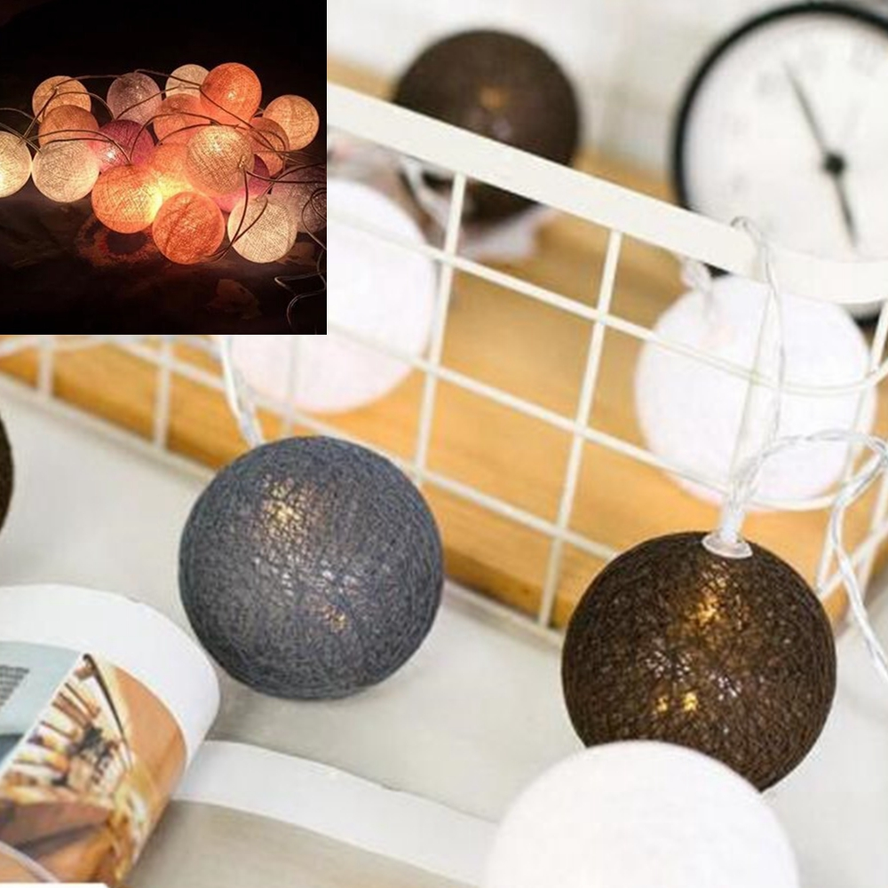 1.5M LED Cotton Garland Ball Light String Outdoor Holiday Wedding Christmas New Year Party Baby Bed Fairy Lights Decor ZXX9222