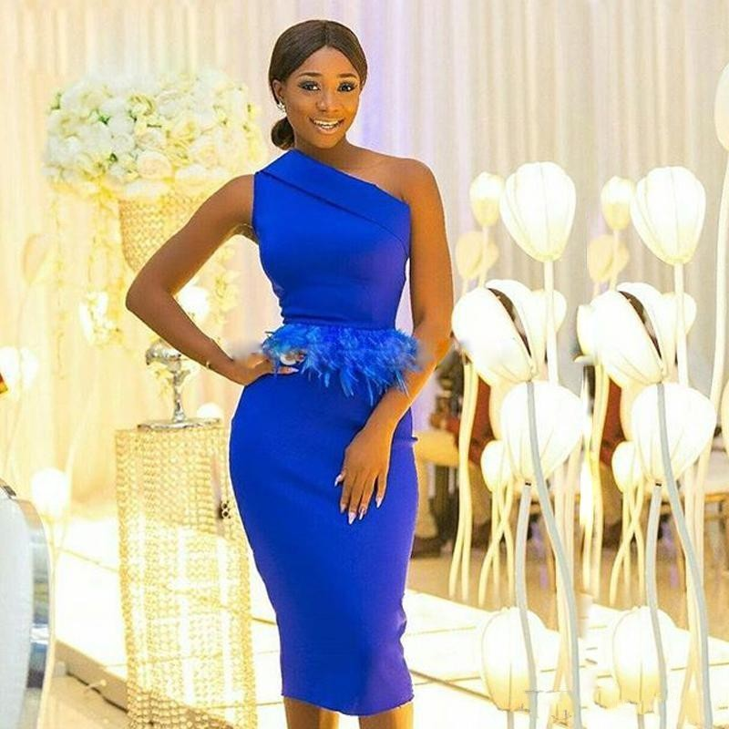 Royal Blue Sheath Prom Dresses One Shoulder Peplum Feather African Evening Dress Tea Length Cocktail Party Gowns vestidos robe