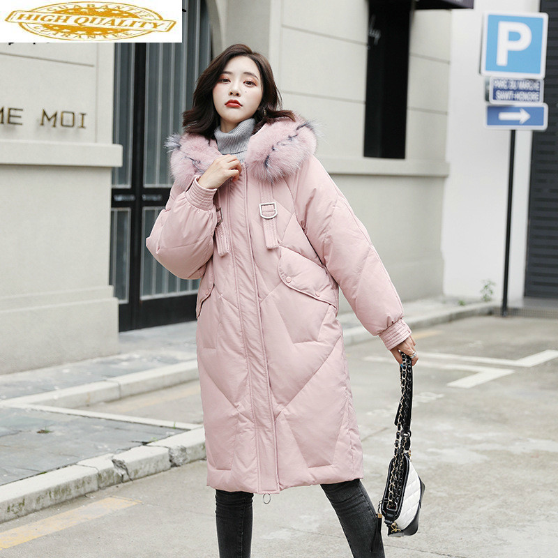 Women's Down Jacket Winter White Duck Down Coat Women Plus Size Warm Parka Korean Long Puffer Jackets 8905 YY1287