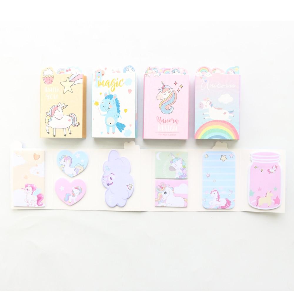 Domikee cute kawaii Korean unicorn series sticky memo pad book cartoon school kids self-adhesive label note pad gift stationery