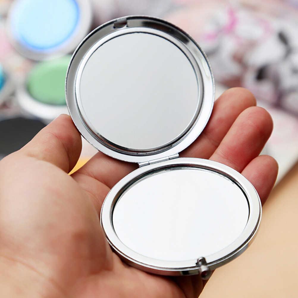 Kristal Logam Saku Cermin Makeup Lipat Bulat Kristal Kompak Cermin Portabel Cute Hadiah Pribadi