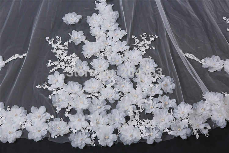 3m Bridal Veil White/Ivory Long Wedding Veil Mantilla Wedding Accessories Veu De Noiva With Lace Flowers Beadwork 885