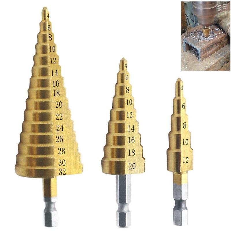 Ступенчатое сверло из быстрорежущей стали с титановым покрытием, 3 шт., 4-12 4-20 4-32, для электроинструментов, металла, быстрорежущая сталь, древ...