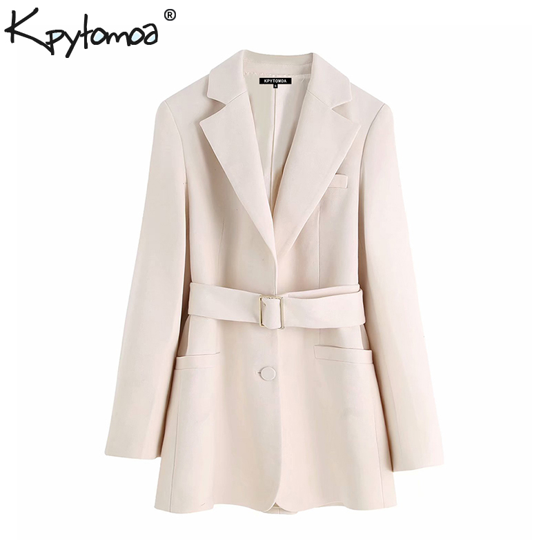Vintage Stylish Office Lady With Belted Blazer Coat Women 2020 Fashion Notched Collar Long Sleeve Pockets Outerwear Chic Tops