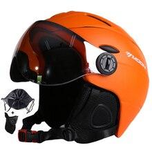 MOON Goggles лыжный шлем, сертификация CE, защитный лыжный шлем с очками, шлем для катания на коньках, скейтборде, катания на лыжах, сноуборде, ПК + EPS
