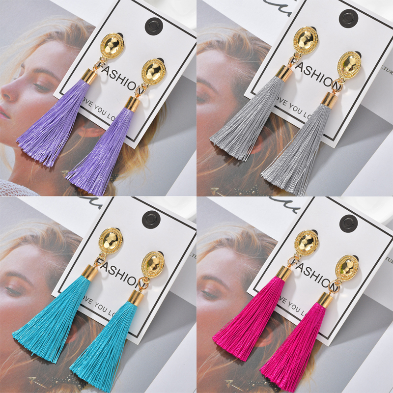 H97910f588461413e9b263f01d3f81a6cj - Bohemian Heart Tassel Long Drop Earrings BOHO Pink Blue Silk Fabric Design Dangle Earrings For Women Jewelry Gift Christmas