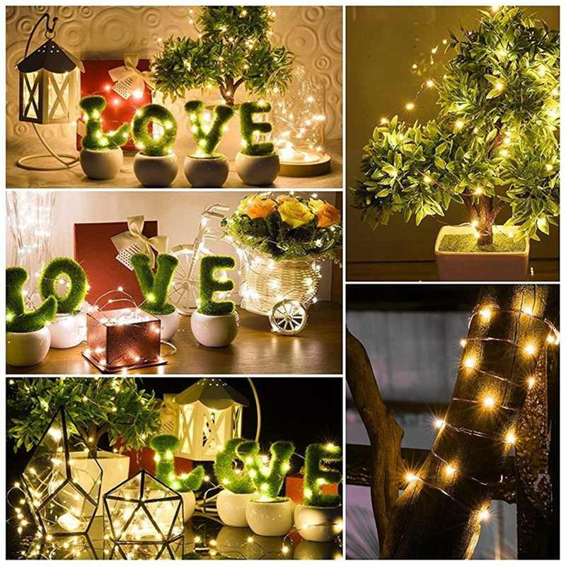 Button Powered DC3V 1M Slivers Wire Auto Turn On LED String Light For Christmas Wedding Holiday Vase Decor Night Lights Lamp