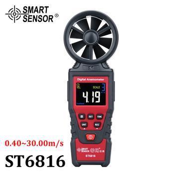 Anemometr cyfrowy miernik prędkości wiatru prędkość powietrza przepływomierz termometr prędkość wiatru urządzenie pomiarowe czujnik przepływu powietrza miernik tanie i dobre opinie SMART SENSOR AR816+ AS816 ST9606 ST6816 ±5 rdg±0 1 0 1 m s 0°C-50°C 32°F-122°F 3*1 5V AAA Battery(Not Included) 0 1°C 0 1°F
