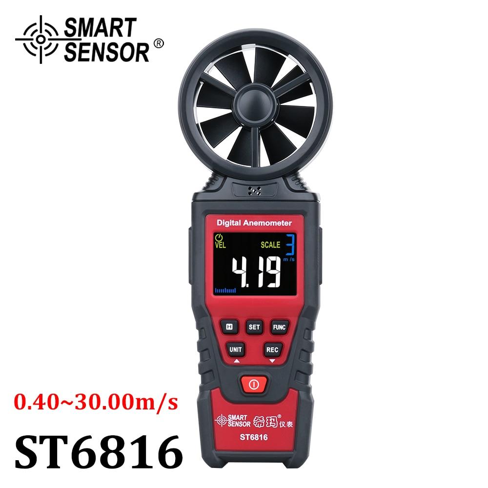 Digital Anemometer Wind Speed Meter Air Velocity Flow Gauge Thermometer Wind Speed Measurement Instrument Airflow Sensor Meter