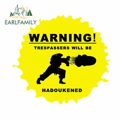 EARLFAMILY 13cm x 11.9cm for Arcade Game Warning Hadoukened Car Stickers Surfboard Motorcycle Decoration Anime Decal