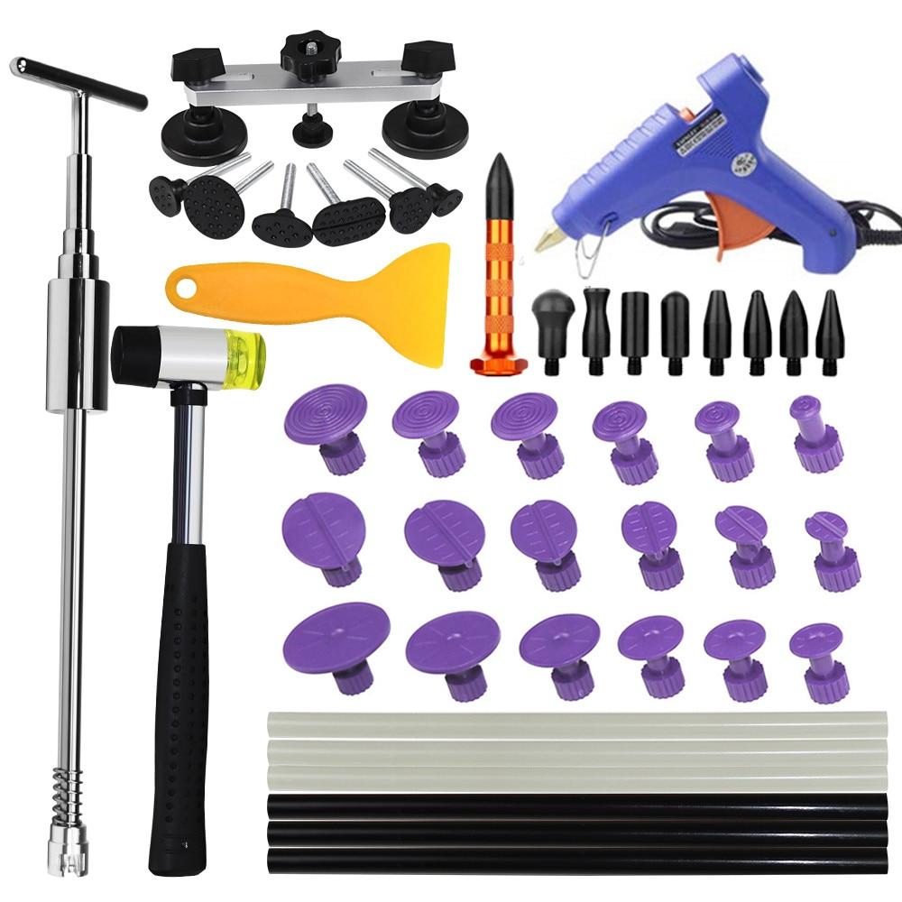 PDR Tools Paintless Dent Repair Tool Set Slide Hammer Glue Gun Proffessional DIY Repair Tools 18tabs glue sticks scrap tap down|Sheet Metal Tools Set| |  - title=