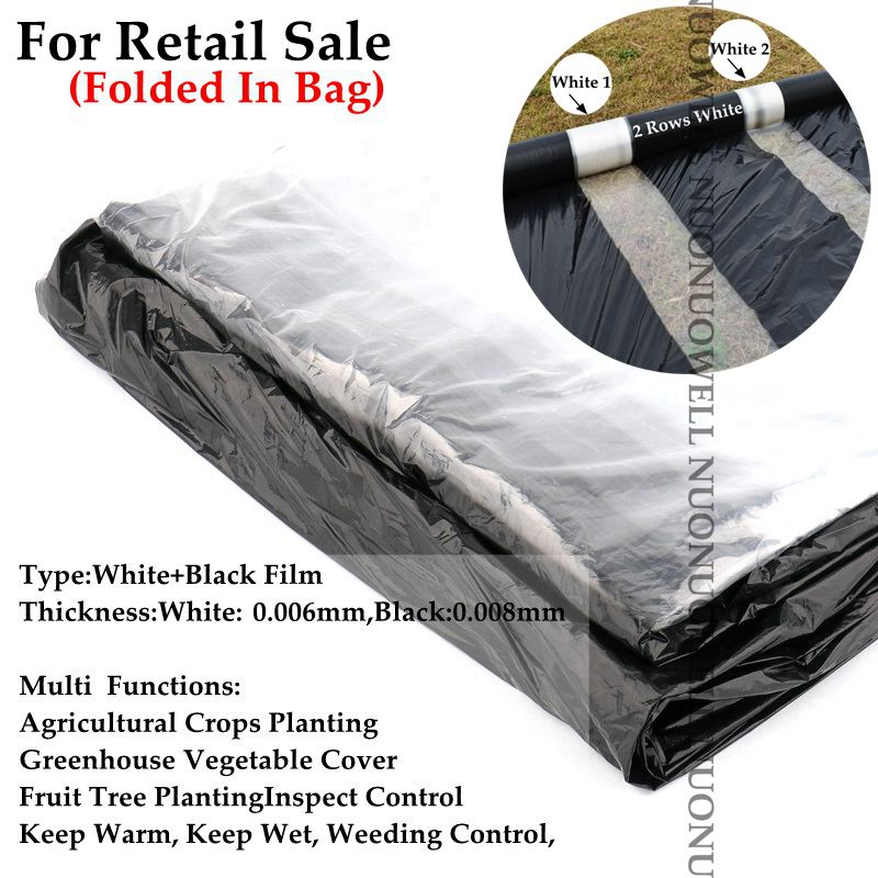 5m 2-Rows White Agriculture Black Film Vegetable Planting Plastic Mulching Film Plants Pest Weed Control Keep Warm Grow Film