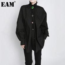 EAM – chemisier à manches longues pour femmes, grande taille, décoration à boutons, coupe ample, mode printemps automne 2021, 1DD3478