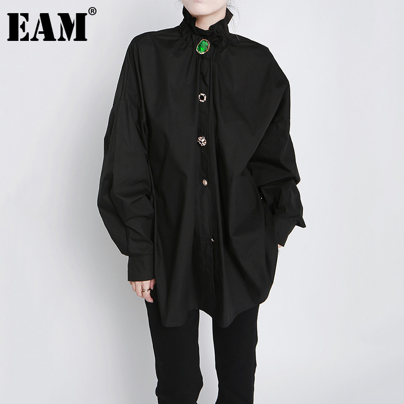 [EAM] Women Big Size Button Decoration Blouse New Stand Collar Long Sleeve Loose Fit Shirt Fashion Spring Autumn 2021 1DD3478