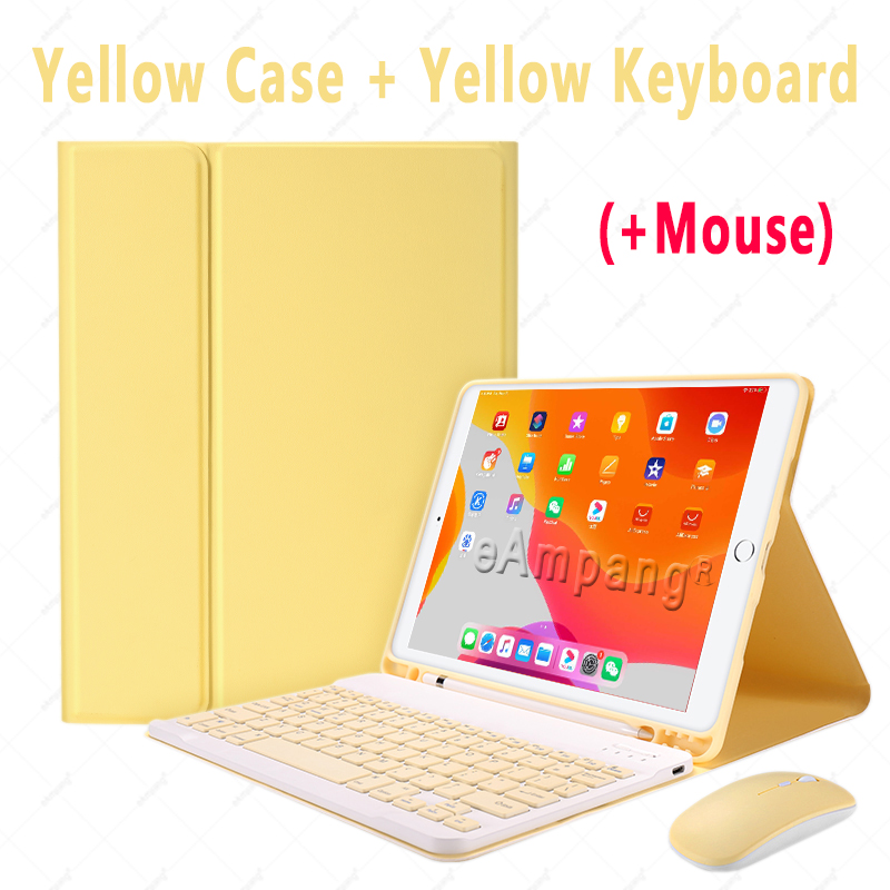 Yellow with Mouse Black Keyboard Case With Wireless Mouse For iPad Air 4 10 9 2020 4th Generation A2324 A2072