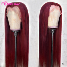 Бразильский Wig13x4 прямые бордовые кружевные передние парики 99J кружевные передние человеческие волосы парики для женщин T кружевные части па...