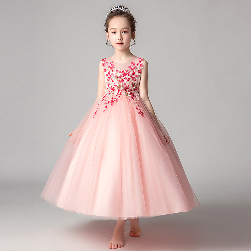 Children Long Princess Dress Wedding Dress Tutu Children Childrenswear Kindergarten Performance Wear Piano Catwalks Clothing