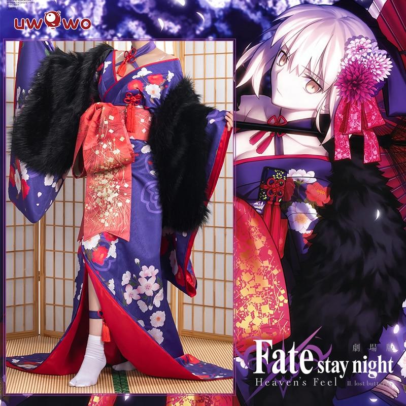 UWOWO Anime Fate Stay Night Heaven's Feel Saber Alter/Arturia Pendragon Alter Cosplay Costume Women Kimono Fate Grand Order/FGO