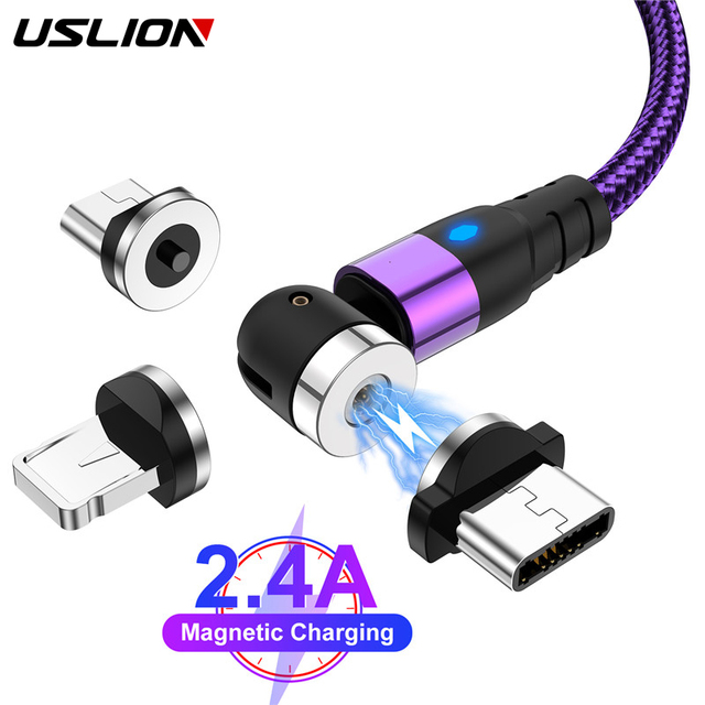 USLION 540 Degree Roating Magnetic Cable Micro USB Type C Phone Cable For iPhone11 Pro XS Max Samsung Xiaomi USB Cord Wire Cable 1