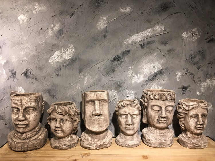 cement Flower Pot Planters Man Head Vintage Vase Statue Decoartion Courtyard Furnishing - 3