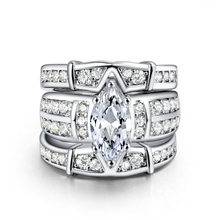 Luxury Queen White Gold Wedding Engagement Ring for Women 3 Layer 925 Sterling Silver Color Ring Setting Zircon Diamond Jewelry new arrivals vintage round 5 5mm semi mount ring in 14kt white gold diamond engagement setting ring for sale ywr00103