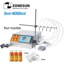 Zonesun 4 ヘッドの液体香水水ジュースエッセンシャルオイル電気デジタル制御ポンプ液体充填機 3 〜 4000 ミリリットル