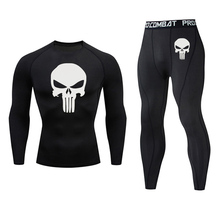 New Jogging compression Set MMA tactics Quick drying Gym T shirt Leggings Union Suit Sportswear Skull