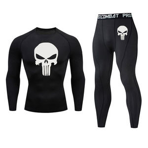New Jogging compression Set MMA tactics Quick-drying Gym T-shirt Leggings Union Suit Sportswear Skull Fitness Brand Running suit(China)