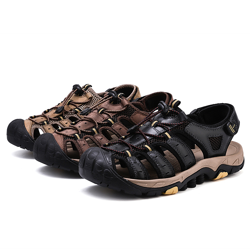 Genuine Leather Mens Caucal Shoes Male Summer Hollow Out Beach Sandals Man Soft Bottom Outdoor Walking Shoes Size 38-46 Sneakers