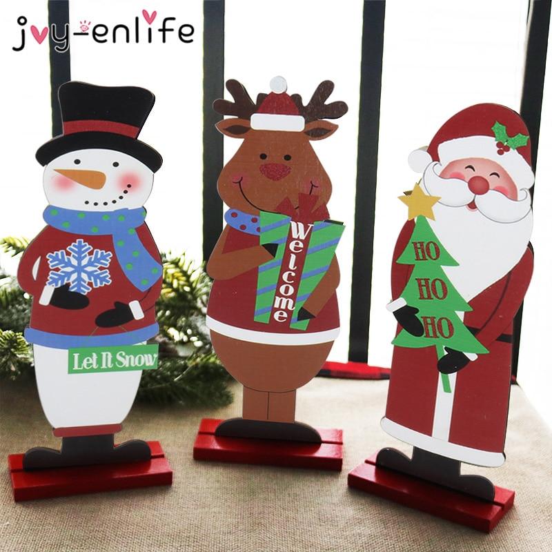 Noel baba kardan adam Elk ahşap el sanatları Noel Noel masa süs Noel Noel dekorasyon ev için doğum hediye 2021 yeni yıl