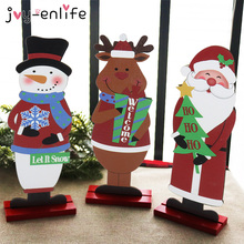 Santa Claus Snowman Elk Wood Craft Christmas Xmas Table Ornament Noel Christmas Decoration For Home Natal Gift 2021 New Year