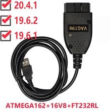 VAG COM 20.4.1 VAGCOM 19.6.2 hex Can USB Interface FOR VW AUDI Skoda Seat VAG 20.4.2 Czech English ATMEGA162+16V8+FT232RL